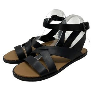 Lucky Brand Fannia Sandals Black Leather Size 7.5